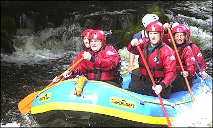 John Prescott whitewater rafting in North Wales (photo courtesy of Liverpool Daily Post and Echo)