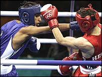 Amir Khan in action on Monday