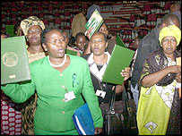 Female delegated rejoice at the end of the conference