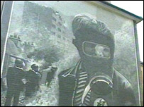 Mural showing the youth of the Bogside taking on the police and army