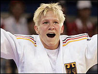 Germany's Yvonne Boenisch celebrates her Olympic gold