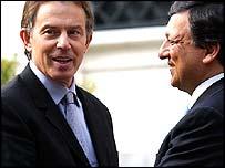 Tony Blair and Jose Manuel Durao Barraso