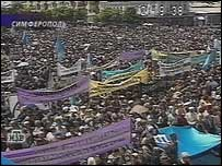 A May 2000 rally in Simferopol to mark the anniversary of the deportation of the Crimean Tatars