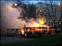 Bus on fire on Park Lane