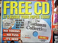 Sunday Mirror cover with Free CD headline