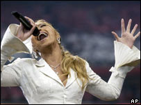 Beyonce singing at the Super Bowl