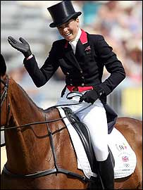 Pippa Funnell celebrates after her dressage display