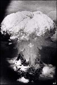 A mushroom cloud over Nagasaki, Japan, after the US dropped an atomic bomb in 1945