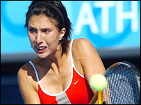 Anastasia Myskina in action during the opening round of women's tennis matches