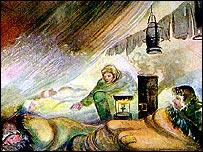 Лагерь челюскинцев на рисунке штатного художника судна