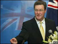 Australian Foreign Minister Alexander Downer gestures during a press conference in Beijing, 17 August 2004