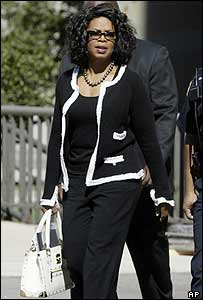 Oprah Winfrey outside court in Chicago