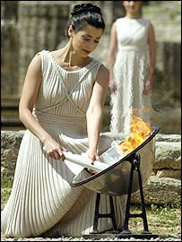 Thalia Prokopiou lights the Olympic flame
