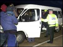 A van was stopped and checked by officers as part of the raids