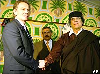 Tony Blair shakes hands with Colonel Gaddafi
