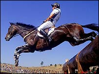 Australia's Brook Staples in action during the three-day eventing at the Sydney Olympics