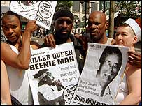 Protestors at London Gay Pride 2004 with anti-Beenie Man placards