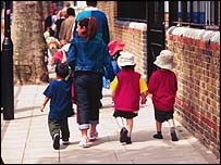 Image of parent walking children to school