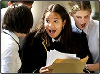 Student celebrating A-level result in 2001