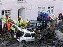 Cars stranded in Boscastle after flood
