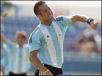 Argentina's Mario Almada scored twice for his side