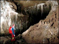 Part of the Cuetzalan cave system, courtesy of Combined Services Caving Association 2004