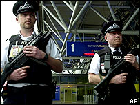 Armed policemen outside London's Heathrow airport