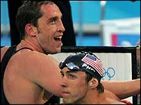 Stephen Parry (left) with Michael Phelps