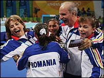 Romania celebrate their team gold