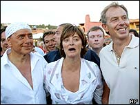 Silvio Berlusconi, Cherie and Tony Blair