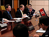 Australian Foreign Minister Alexander Downer and other delegates in Pyongyang ,  18/08/04