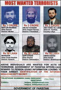 Pakistani government 'most-wanted' advert