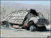 Destroyed army truck in South Waziristan