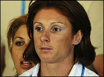 Katerina Thanou looks pensive as she attends the IOC hearing