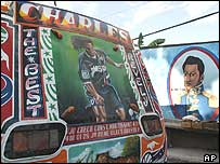 Haiti bus with portrait of Ronaldinho Gaucho