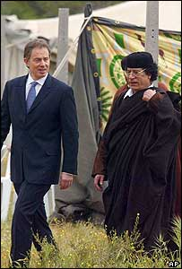 British Prime Minister Tony Blair (left) with Colonel Gaddafi of Libya, outside the tent in Tripoli