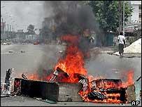 Burning barricade