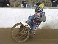 An Exeter Falcons speedway rider