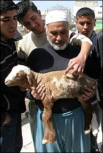 Palestinian farmer holds lamb as boy points out word 