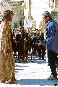 Mel Gibson directing Jim Caviezel in The Passion