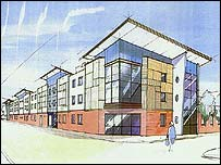 Artist's impression of homeless centre