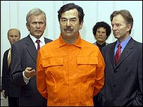 Figures including George Bush, Saddam Hussein and Tony Blair in Madame Tussauds