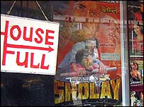 Full sign at Bombay cinema showing Sholay