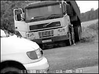 One of Roger Trimmer's trucks dumping building rubble on the Ridgeway