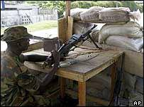 Nigerian soldier keeping guard