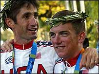 Bobby Julich (left) congratulates compatriot Tyler Hamilton on his victory
