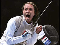 Italy's Valentina Vezzali celebrates her victory in Athens