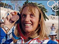 Alison Williamson celebrates her bronze medal