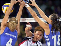 Action from Japan v Greece in the Olympic women's volleyball