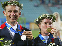 Britain's Leslie Law (left) could still take gold off Germany's Bettina Hoy